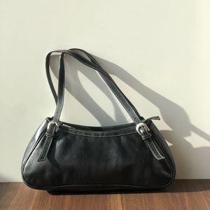 Y2K Vintage Baguette Bag Black Leather Naturalizer